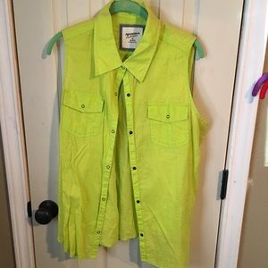 Neon yellow button up tank top